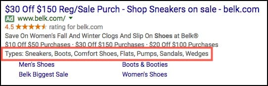 adwords callout extensions example