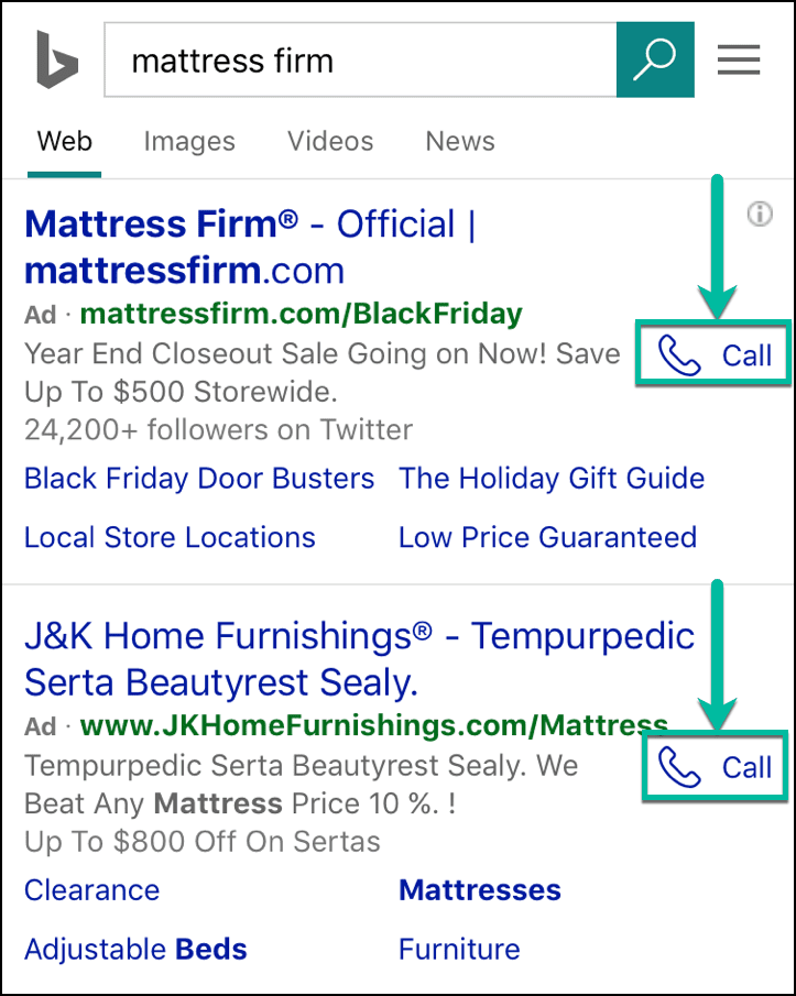 bing ads mobile call extensions