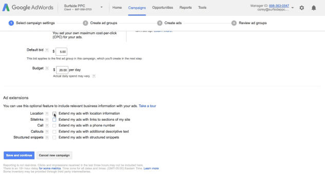 step 5 create adwords ad extensions