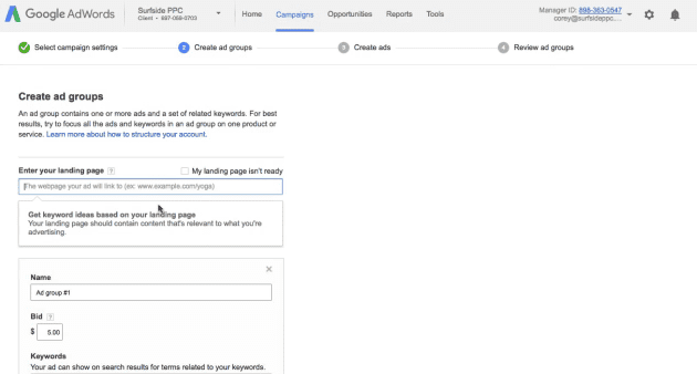 step 6 set up your google ad groups