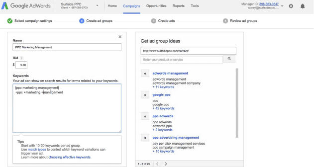step 7 add your adwords keywords