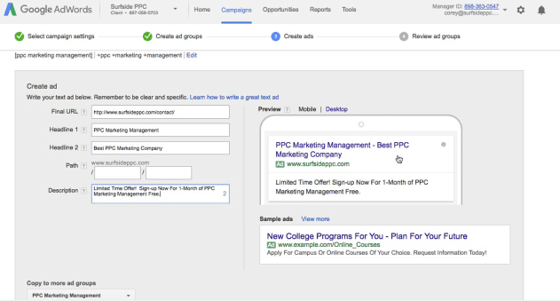 step 8 create your adwords text ads