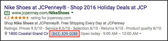 adwords call extension example