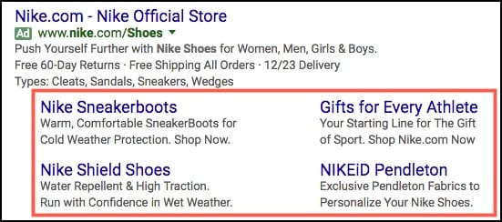 adwords sitelinks extensions example