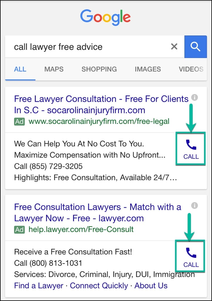 mobile call extension example google adwords