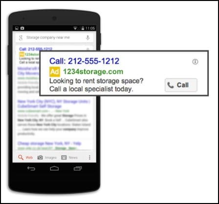 mobile call only campaign google adwords