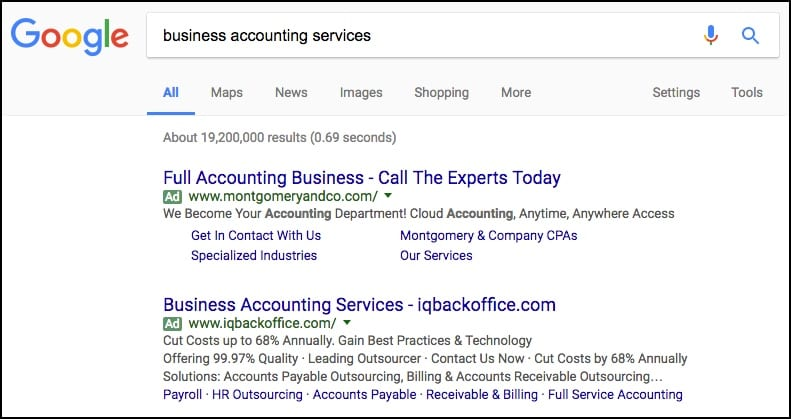 google adwords ppc advertising b2b keywords