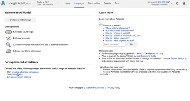 step 1 set up your adwords account and billing