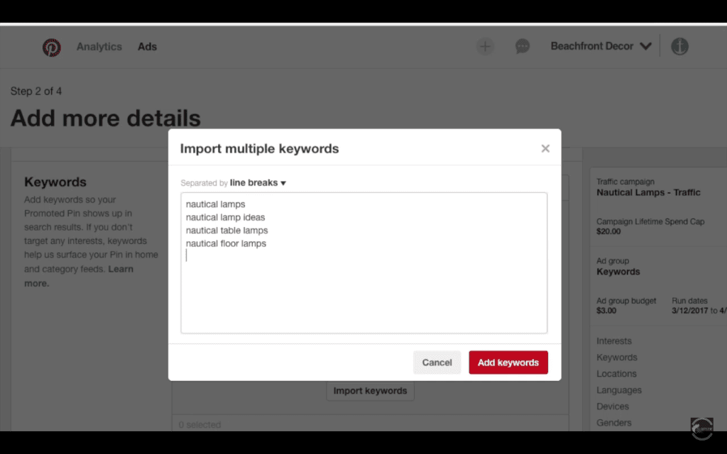 Import Keywords and Targeting