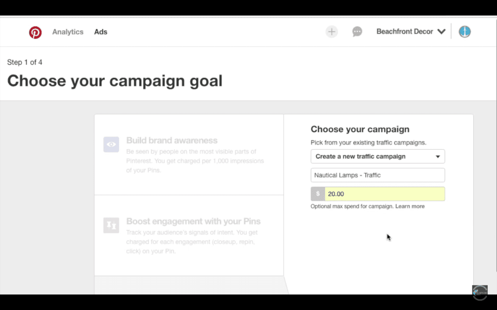 Name Your Pinterest Ads Campaign and Set Lifetime Budget