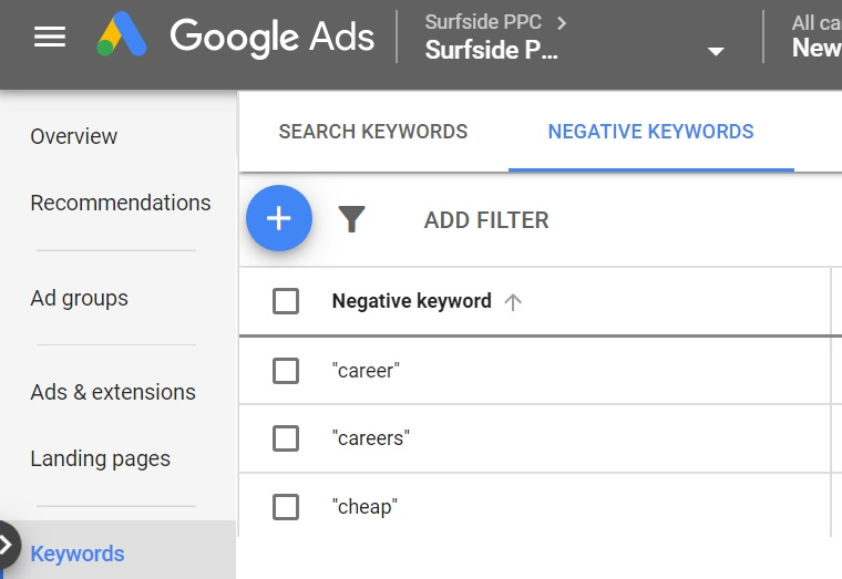 what are negative keywords