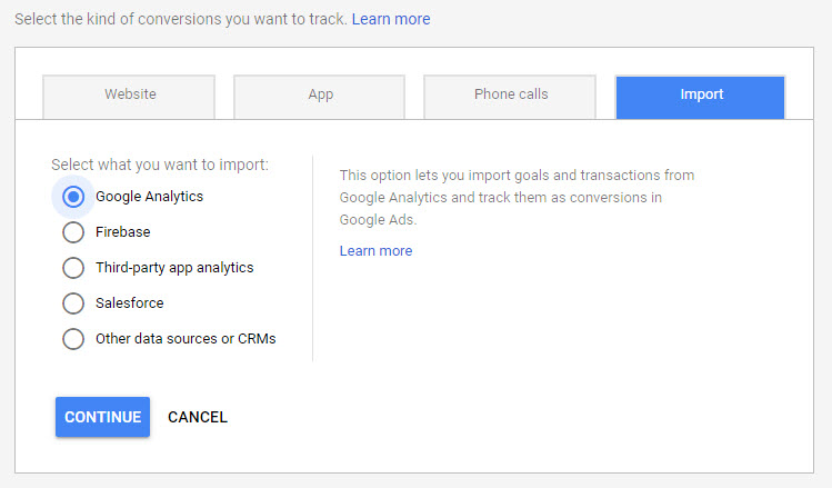 import google analytics conversions to google ads