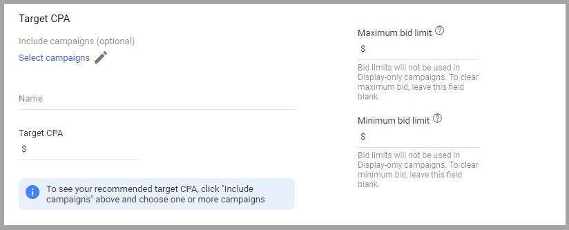 target cpa bid strategy