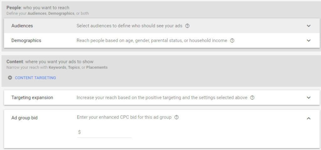Google Display Ads Targeting and Bidding