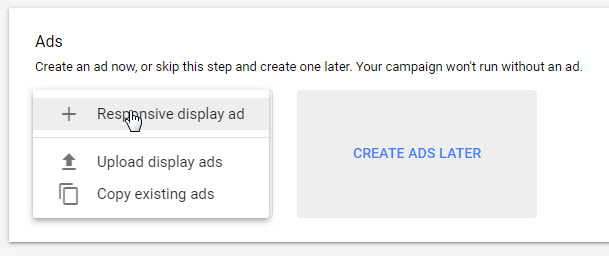 create new responsive display ad