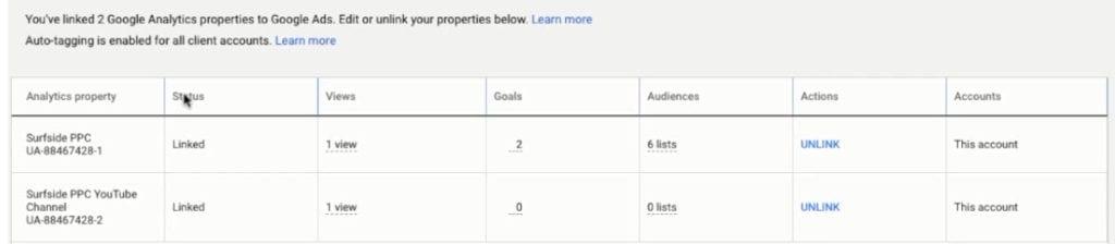 google ads linked accounts