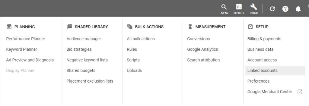 google adwords linked accounts