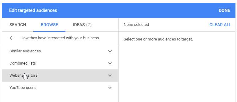 target remarketing audiences through google ads