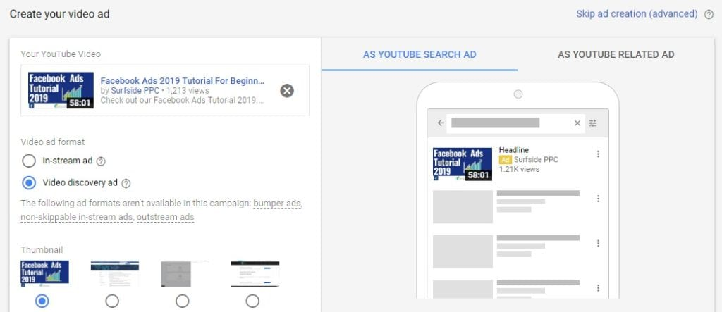video discovery ads on youtube