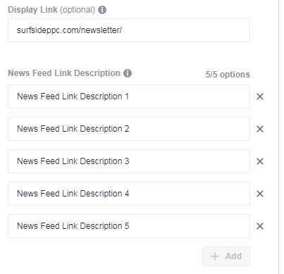 Add 5 News Feed Link Descriptions and Display URL