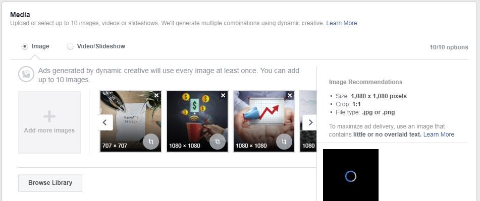 upload facebook image ads or facebook video ads