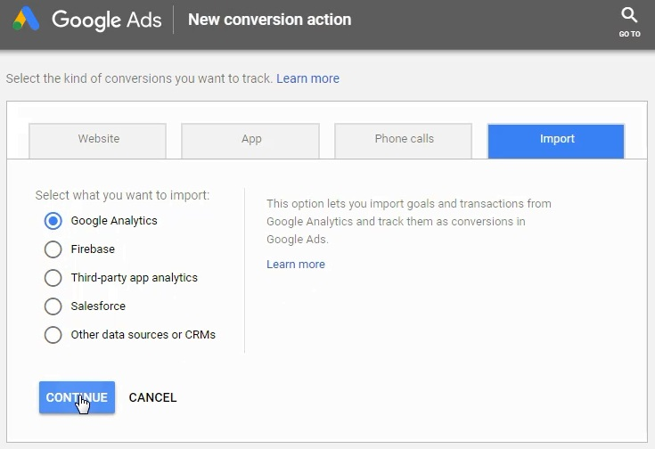 Import from Google Analytics