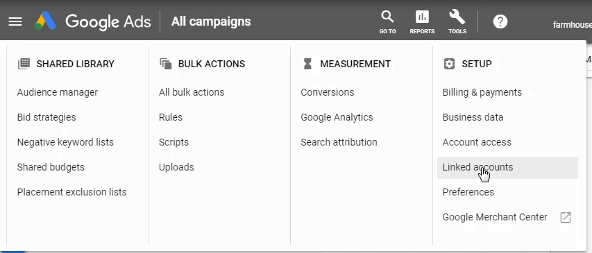 google ads linked accounts