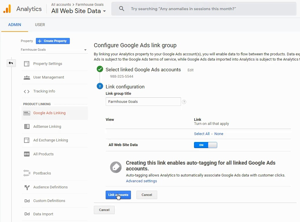 google analytics linked accounts completion