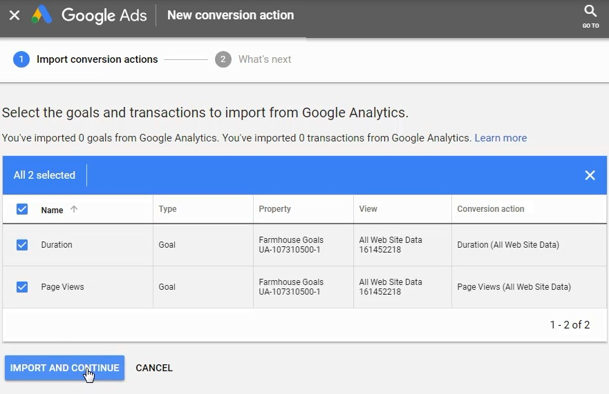 import conversions from google analytics to google ads