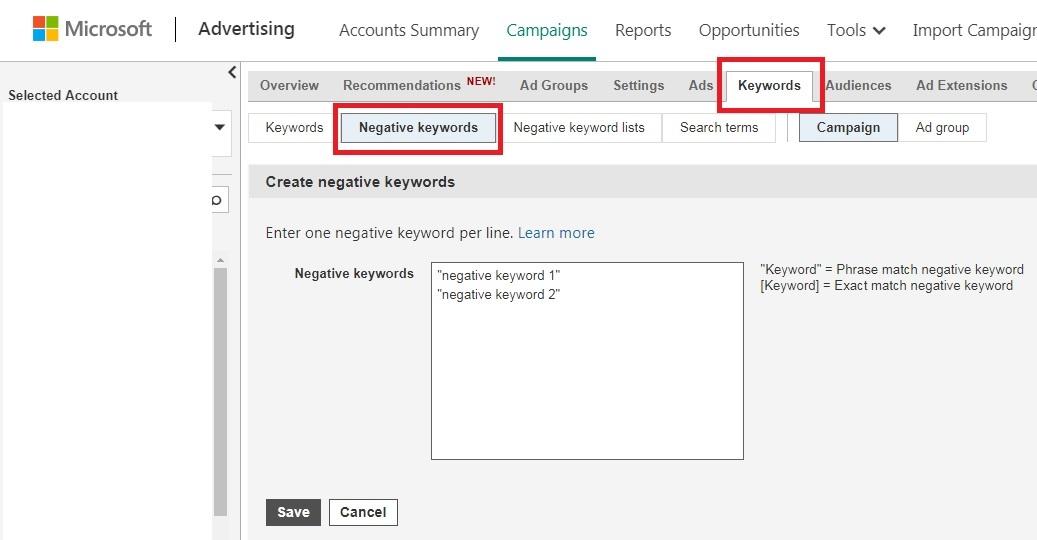 add negative keywords in bing ads