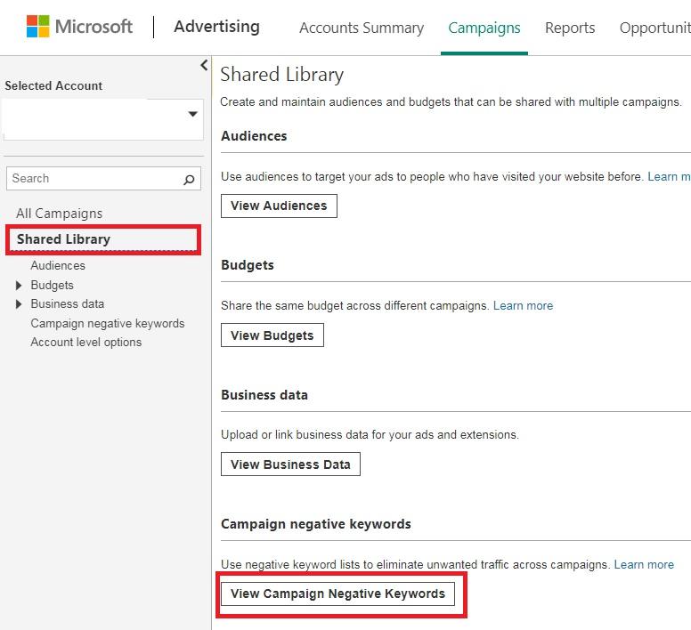 bing ads campaign negative keyword lists