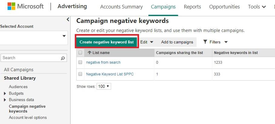 create negative keyword list