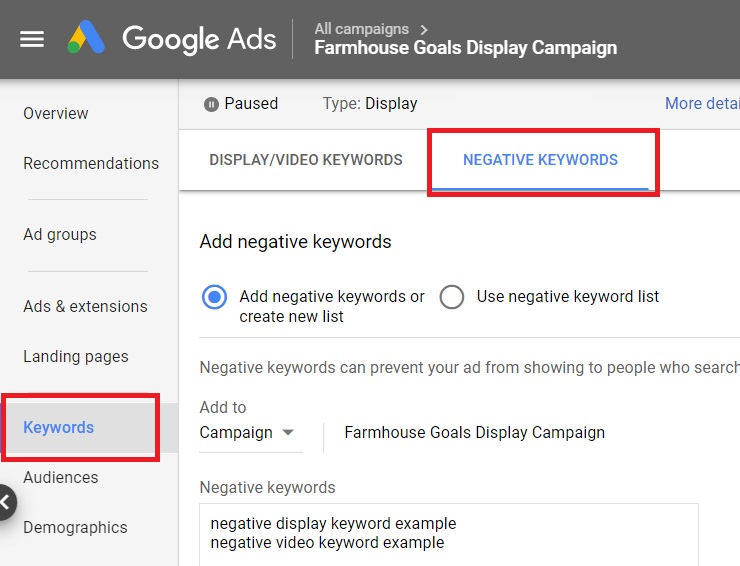 google ads display negative keywords