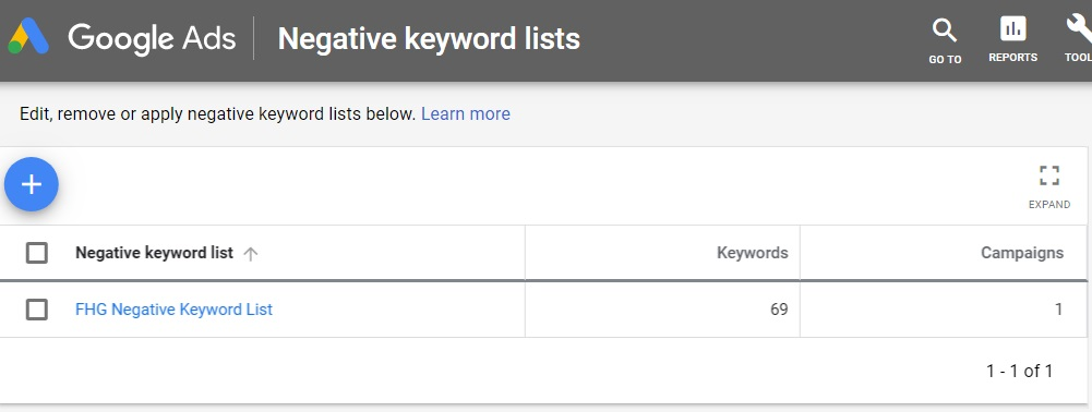 google adwords negative keyword lists