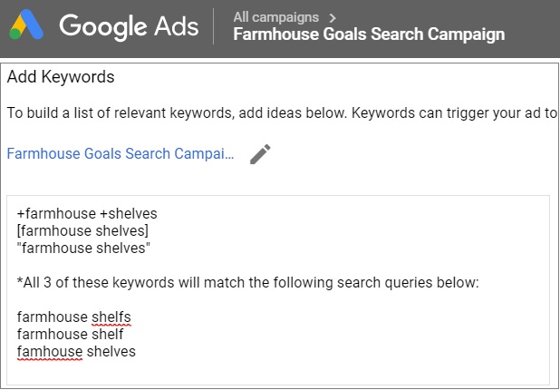 keyword close variants in google ads