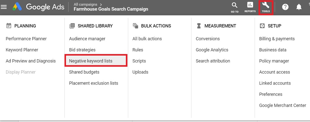 negative keyword lists google ads