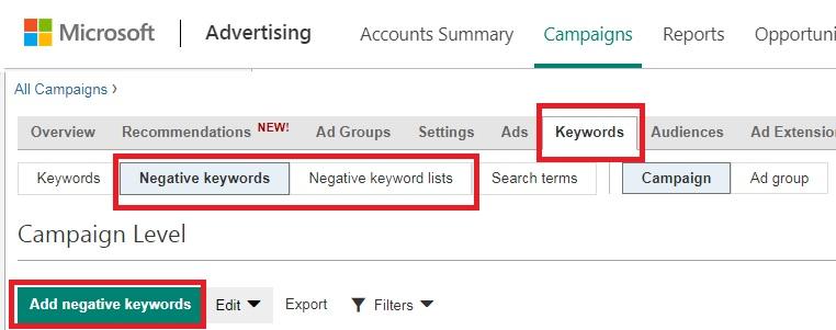 negative keywords in bing ads