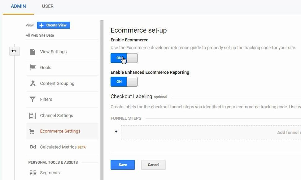 enable ecommerce and enhanced ecommerce google analytics