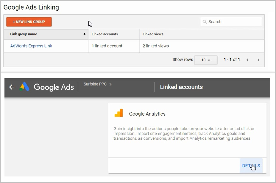 link google ads and google analytics accounts