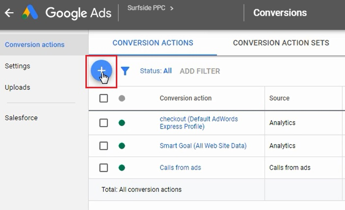 add a new conversion in google ads
