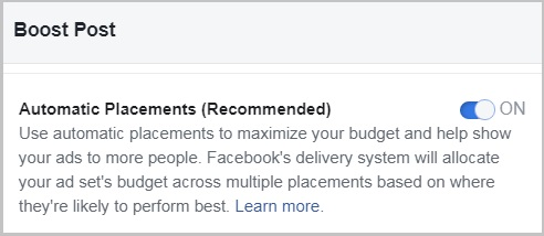Automatic Placements Boost Facebook Posts