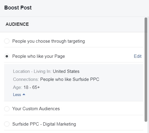 Choose Audience Targeting - Target Your Page Likes Boost Post - 3a