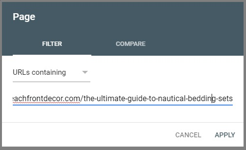 Find keywords for a page google search console