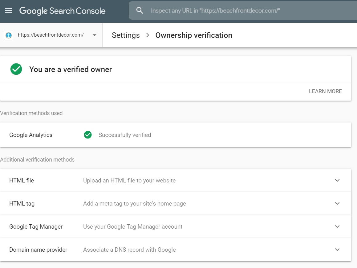 Ownership Verification Google Search Console