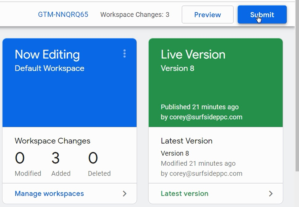 Submit changes for google tag manager