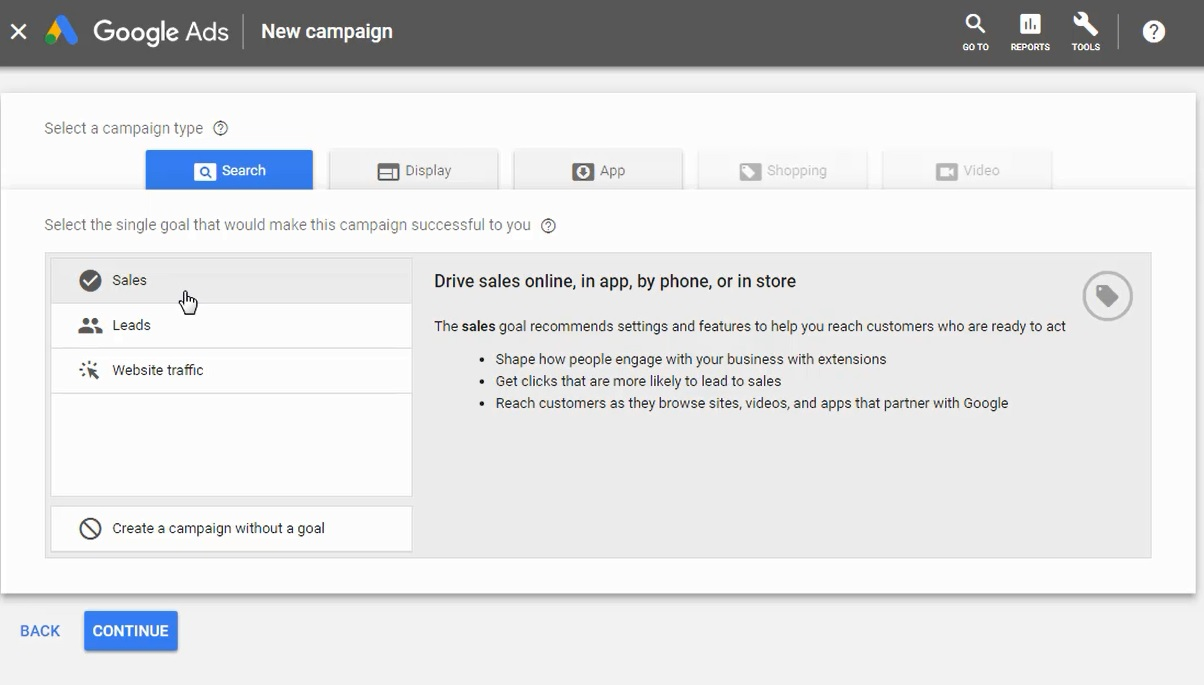 choose google ads campaign type