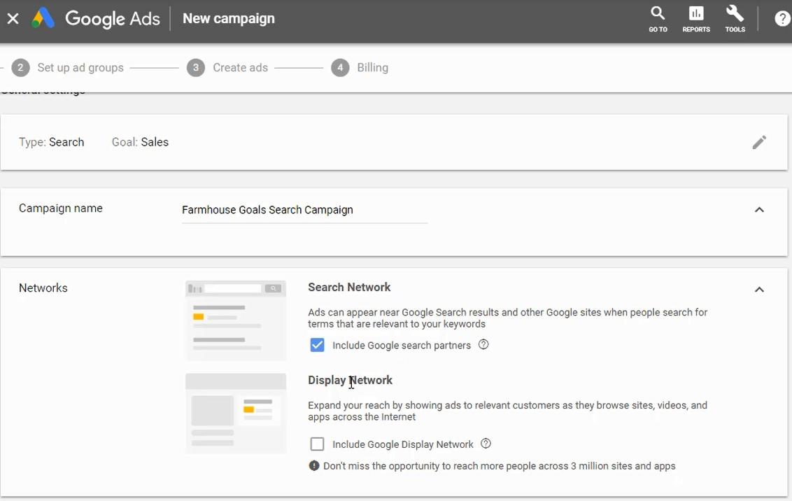 choose search network only in google ads