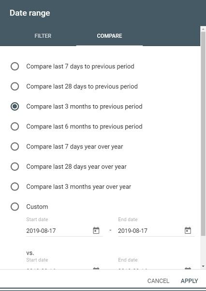 compare date range google search console