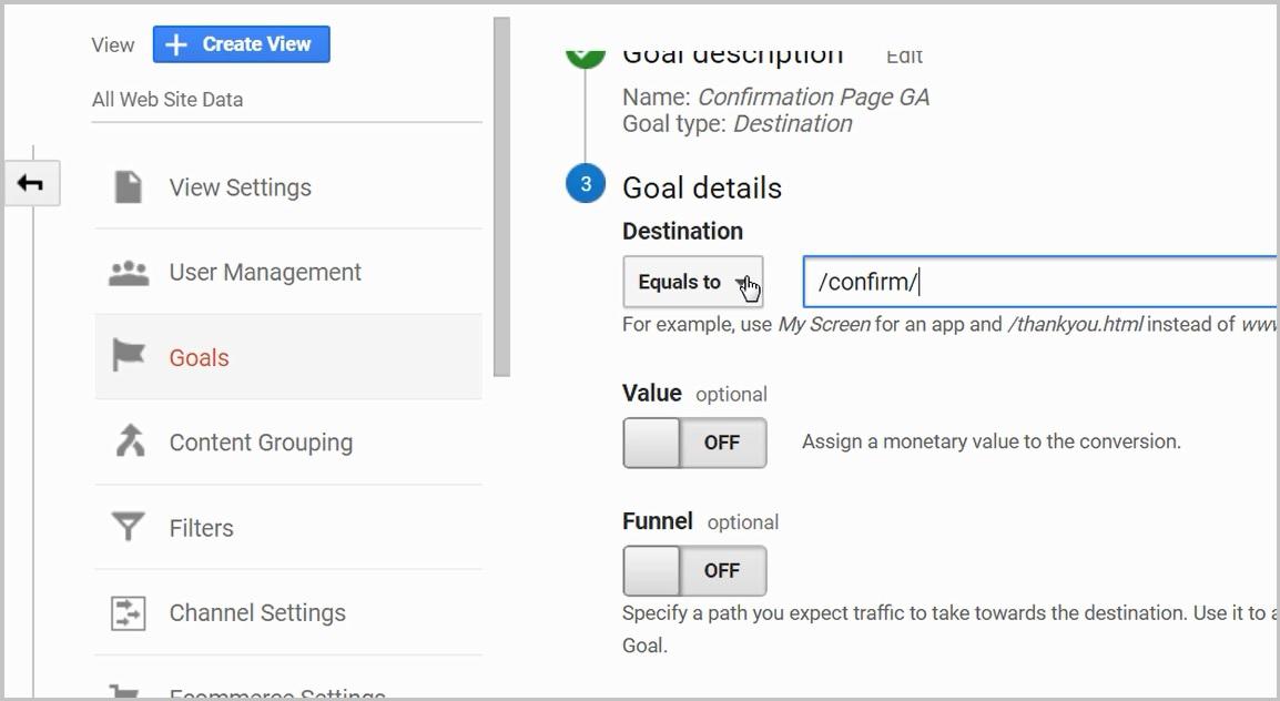 create a google analytics goal