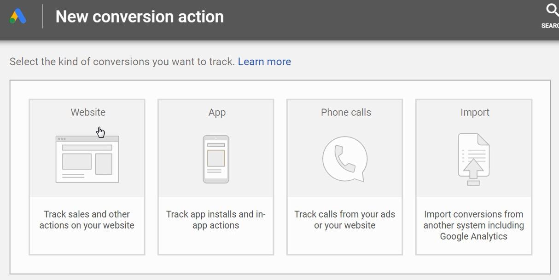 create website conversion in google ads